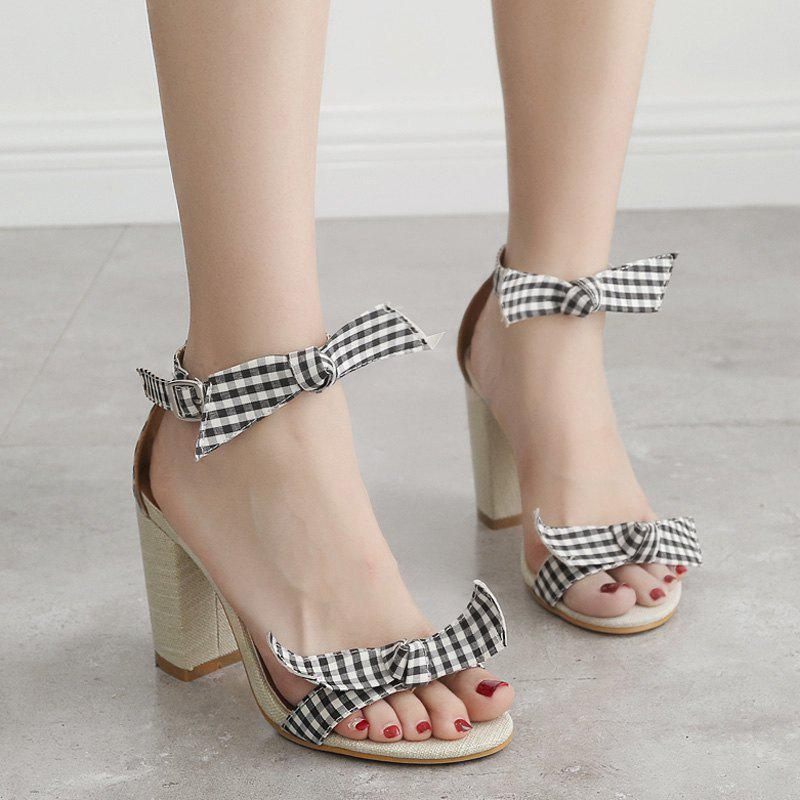 Best Bowknots Plaid Pattern Ankle Strap Sandals