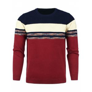 Color Block Panel Snowflake Knitted Sweater - Red And Cadetblue - M