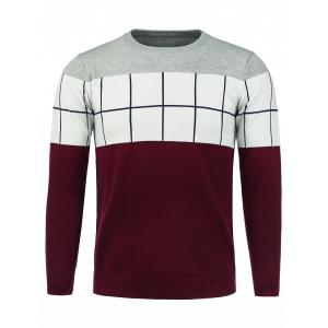 Color Block Panel Checked Crew Neck Sweater - Red - M