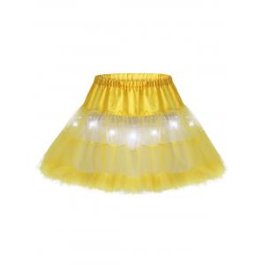 Light Up Ruffles Tutu Voile Cosplay Skirt - Yellow - One Size
