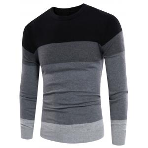 Color Block Panel Crew Neck Rib Design Sweater