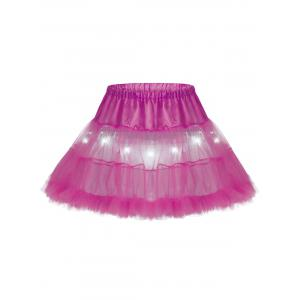 Light Up Ruffles Tutu Voile Cosplay Skirt - Deep Pink - One Size