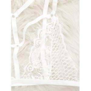 Cut Out Caged Lace Bralette - WHITE M
