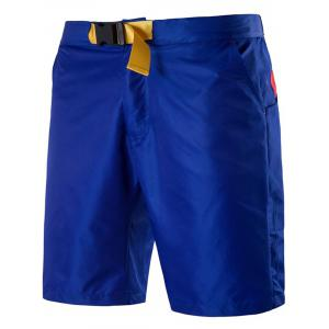 Plastic Buckle Embellished Zipper Fly Polyester Shorts
