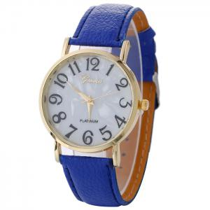 Marble Face Faux Leather Strap Number Watch