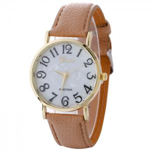 Marble Face Faux Leather Strap Number Watch - Beige