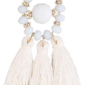 Resin Circle Beaded Tassel Earrings - WHITE