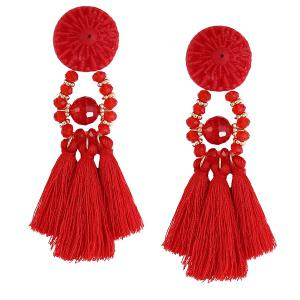 Resin Circle Beaded Tassel Earrings - Red