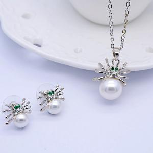 Faux Pearl Rhinestone Spider Jewelry Set