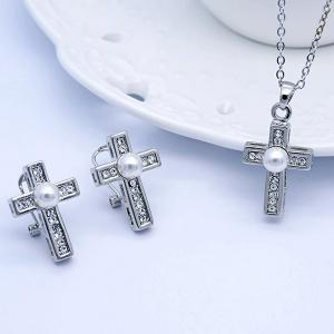 Rhinestoned Faux Pearl Cross Jewelry Set - Silver