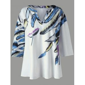 Drop Shoulder Feather Print Plus Size Tee