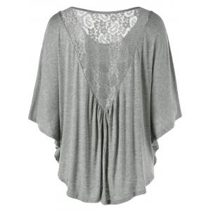Lace Insert Butterfly Sleeve Plus Size T-Shirt