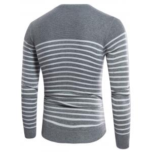 Striped Design Crew Neck Rib Panel Sweater - OYSTER 3XL