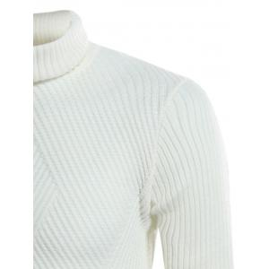 Twill Knitting Turtle Neck Rib Design Sweater - OFF-WHITE 3XL