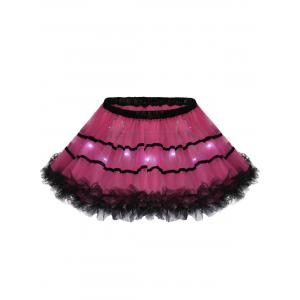 Tier Light Up Color Block Tutu Cosplay Skirt - Deep Pink - One Size