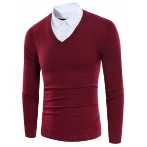 Knitting Shirt Collar Panel Faux Twinset Sweater - Red - 3xl