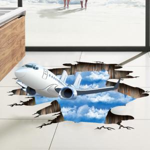 3D Plane Sky Removable Floor Decor Wall Sticker