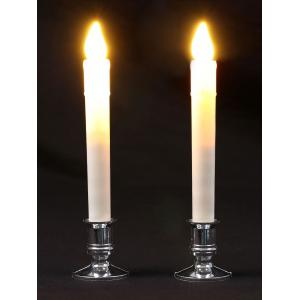 Plastic Pillar Shape LED Electronic 2PCS Candles Night Light - WHITE