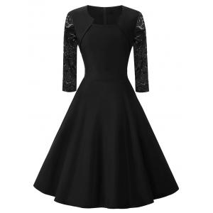 Lace Panel Vintage Dress with Pockets