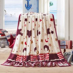 Sofa Nap Throw Blanket avec Star Moon Print - RAL1001Beige Complet