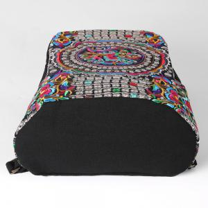 Ethnic Embroidery Canvas Backpack - BLACK