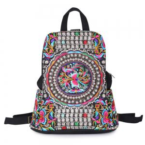 Ethnic Embroidery Canvas Backpack