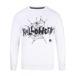 Long Sleeve Spider Web Graphic Print Sweatshirt