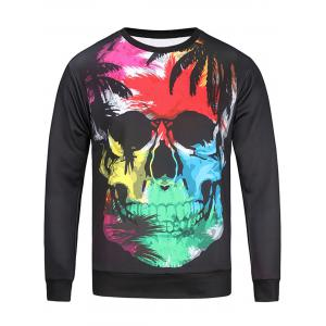 Color Block Skull and Leaves Print Sweatshirt