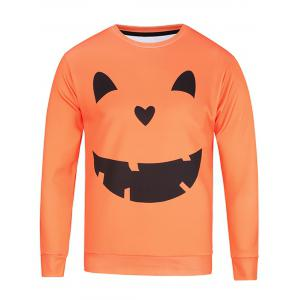 Long Sleeve Pumpkin Lamp Face Print Sweatshirt - Colormix - 2xl