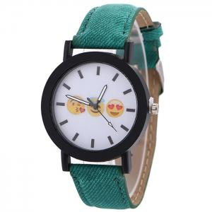 Emoticon Face Faux Leather Strap Quartz Watch