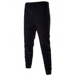 Cotton Blends Drawstring Beam Feet Jogger Pants