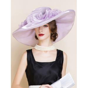 Oversize Organza Layered Flowers Sun Hat - Suede Rose - One Size