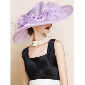 Oversize Organza Layered Flowers Sun Hat - SUEDE ROSE