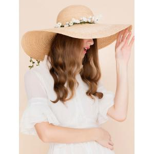 Wide Brim Fake Flowers Embellished Straw Hat