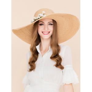 Wide Brim Fake Flowers Embellished Straw Hat - YELLOW