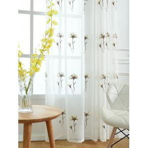 Sheer Tulle Floral Embroider Curtain For Living Room - WHITE W54INCH * L84INCH