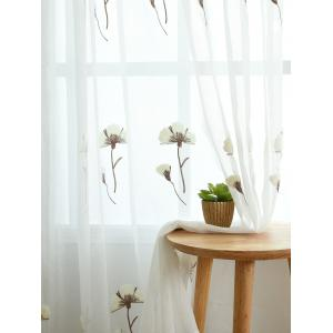 Sheer Tulle Floral Embroider Curtain For Living Room - WHITE W54INCH * L95INCH