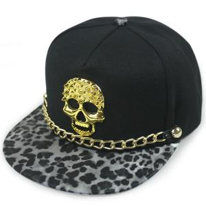 Skull Link Chain Flat Brim Baseball Hat - Black Grey