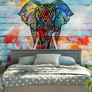 Colorful W59 Inch L59 Inch Wood Grain Wall Hanging Elephant Tapestry