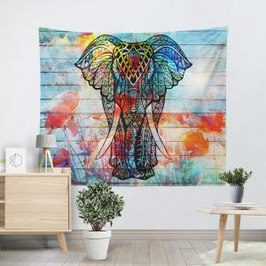 Colorful W59 Inch L79 Inch Wood Grain Wall Hanging Elephant Tapestry