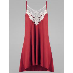Plus Size Crochet Panel Openwork Tank Top