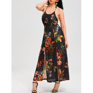 High Waist Backless Split Halter Floral Maxi Dress - Colormix - Xl