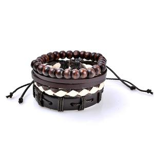 Retro Beads Faux Leather Woven Friendship Bracelets - Coffee - S
