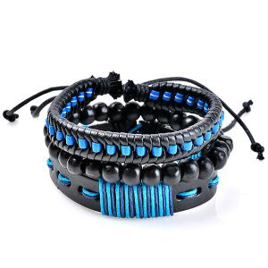 Woven Artificial Leather Beads Friendship Bracelets