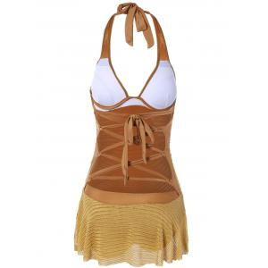 Halterneck Backless Lace Up Monokini Dress Swimwear - GINGER L