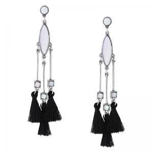 Faux Gem Geometric Bar Tassel Earrings