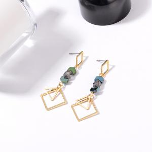 Faux Gemstone Geometric Triangle Earrings