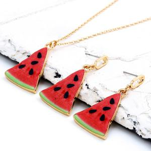 Cartoon Triangle Watermelon Pendant Necklace Set