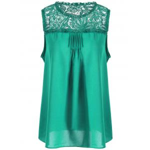 Lace Trim Chiffon Sleeveless Plus Size Top