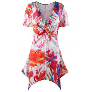 Asymmetric Twist Front Print Plus Size Tunic Top